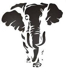 Elephant Stencil W Gold Foil
