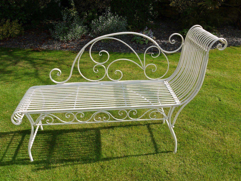 Ivory Cream Wrought Iron Garden Bench Chaise Longue Style Amazon