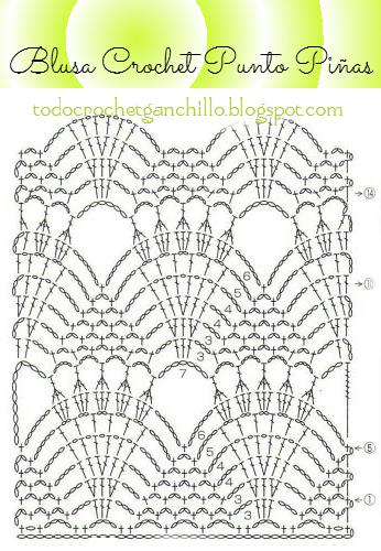 Diagrama de punto piña motivo crochet   TEJIDOS   Pinterest   Puntos ...