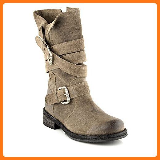 Felmini - Damen Schuhe - Verlieben Cooper A574 - Cowboy & Biker Hohe Stiefel - Echtes Leder - Grau - 39 EU Size (*Partner Link)