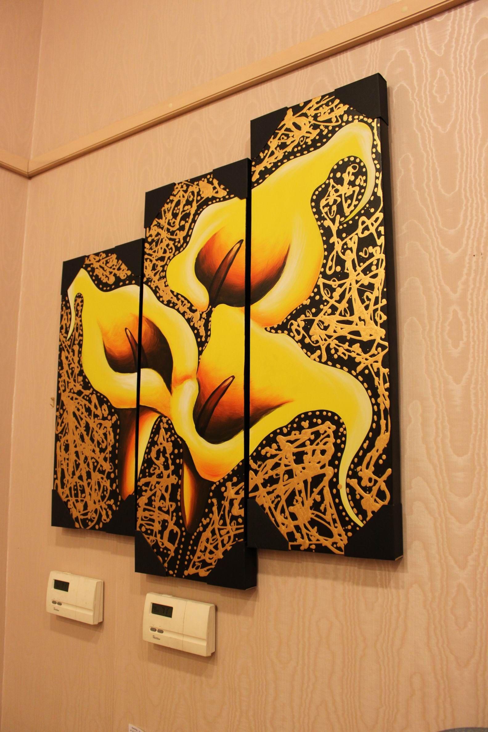 Metallic Gold Yellow Calla Lily Flower Triptych Canvas Acrylic ...