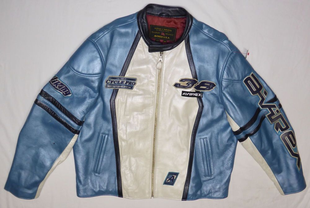 Avirex Men s Leather Jacket 3XL Blue Black White Cycle Pro Viking 38 ... cb9d27737