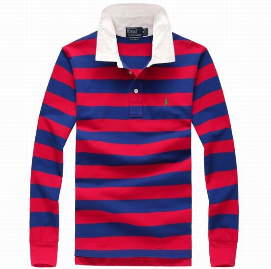 NWT Men\'s Polo Ralph Lauren Navy/Red Block Stripes Small Pony Polo Shirt W Long  Sleeves