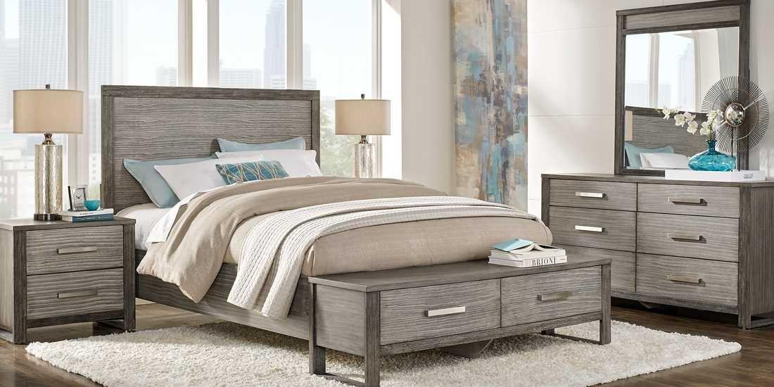 Abbott Gray 7 Pc Queen Panel Bedroom With Storage Rooms To Go Bedroom Panel Bedroom Furniture Sets Furniture