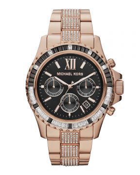 Mid Size Rose Golden Stainless Steel Everest Chronograph Glitz Watch Saat Rose Gold Saat Michael Kors Michael Kors Saat Michael Kors Bayan Saatleri