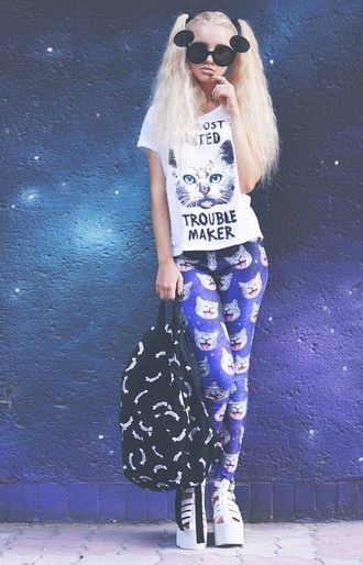 kristina dolinskaya blogger printed leggings cats cyber ghetto round sunglasses black backpack platform shoes