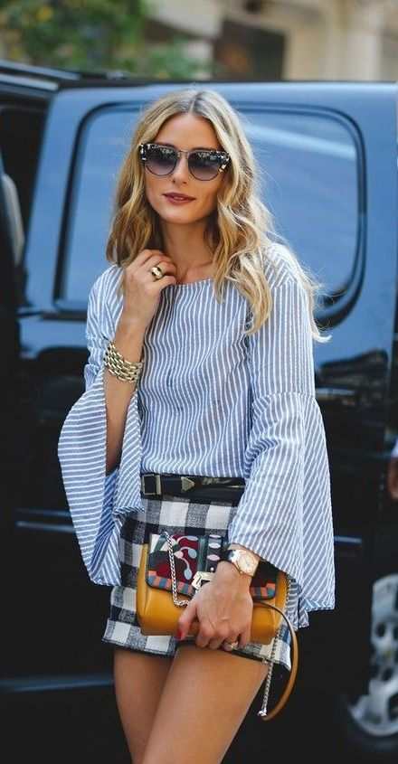 Reset and refresh yourself. We love this classic warm weather look on Olivia Palermo. The bell sleeves are so fun!