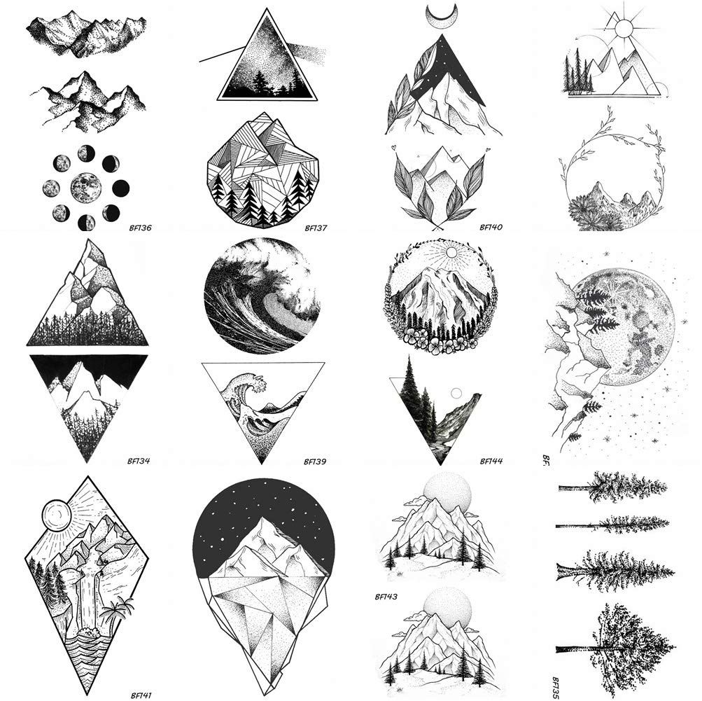 Photo of 12 Pieces/Lot Geometry Triangle Mountain Temporary Tattoo Sticker Cover Women Body Arm Art Drawing W