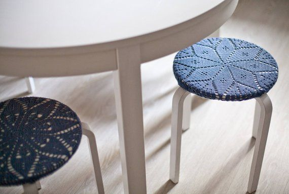 Knit Cotton Cover For Round Stool Knit Decor Knit Cover For Ikea