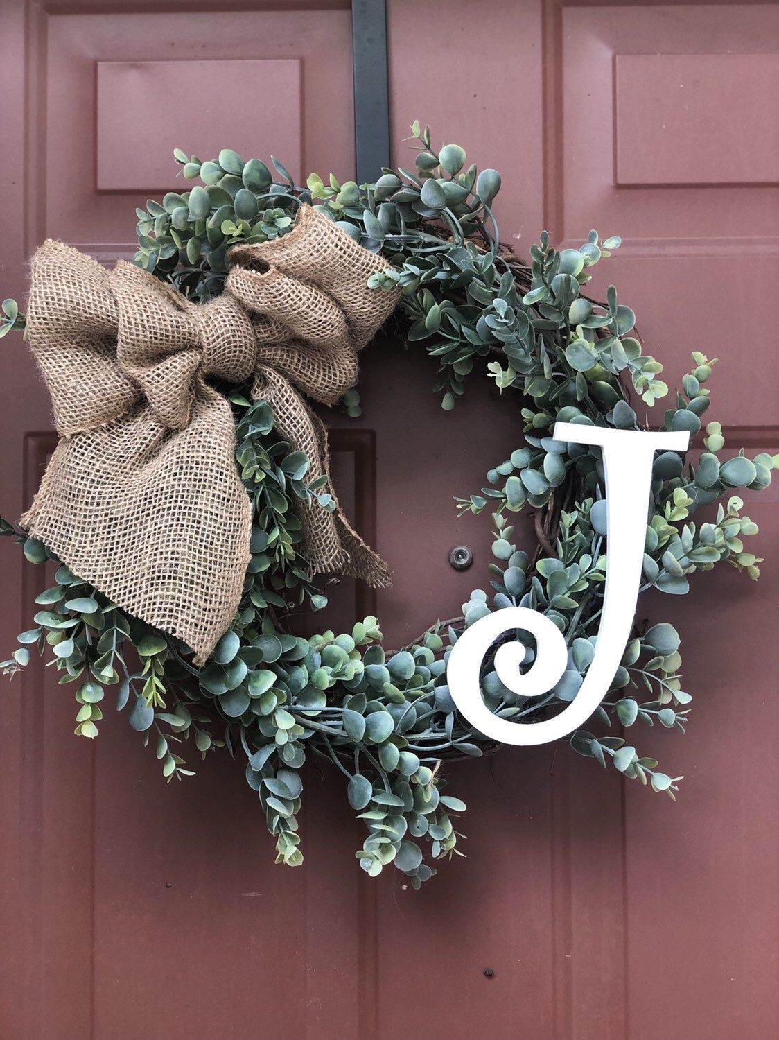 Boxwood Wreath With Monogram Front Door Decor Rustic Wreaths With Initial Front Door Wreath With Letter Christmas Decorations Wreaths Boxwood Wreath Decor Boxwood Wreath