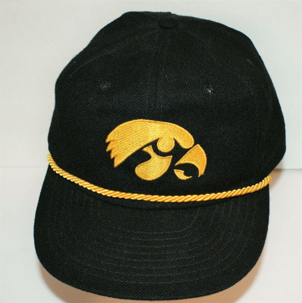 Iowa hawkeyes hat snapback black w gold cord rope vintage
