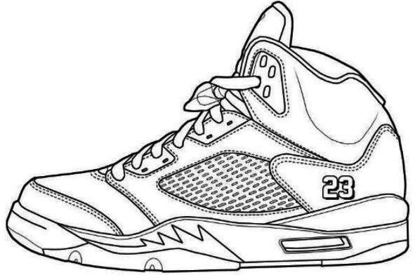 Model Jumpman Jordan Shoe Coloring Pages 740x409 | shoes coloring page |  Pinterest | Learn drawing, Air jordan shoes and Outlines
