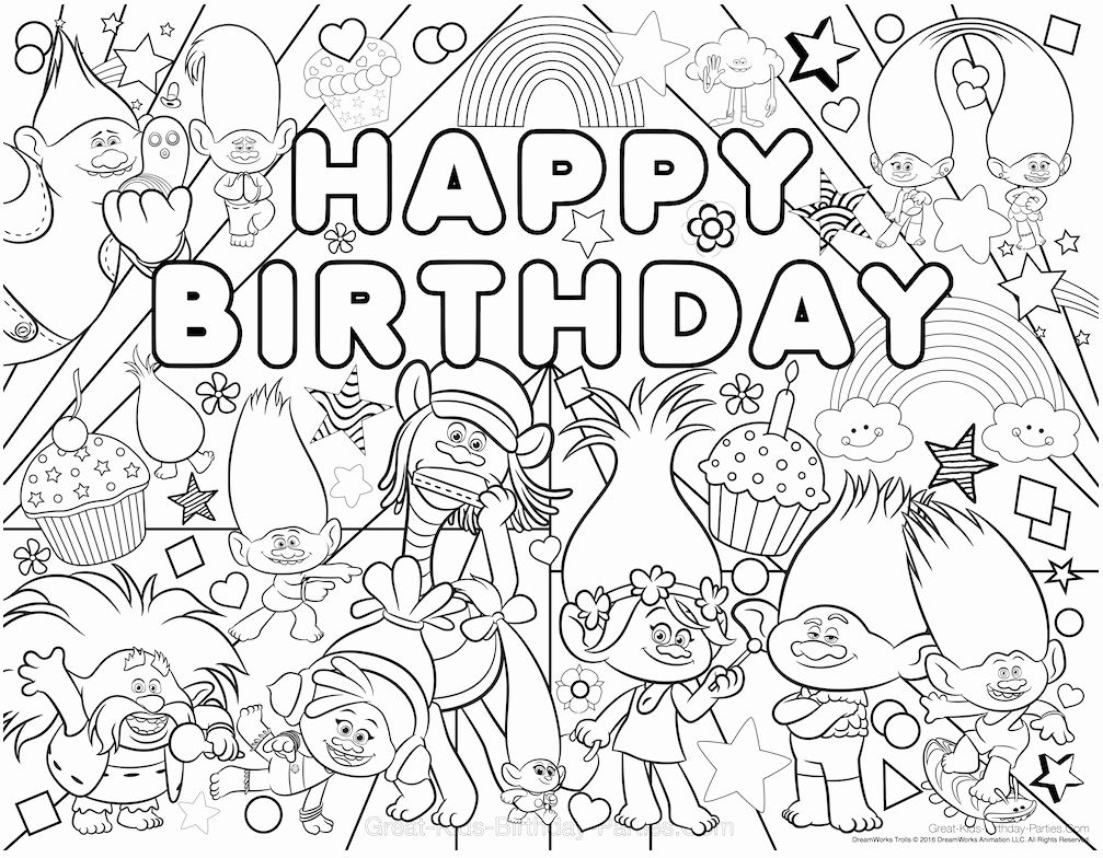 Happy Anniversary Coloring Page Fresh 30 Printable Trolls Movie Coloring Pages Birthday Coloring Pages Happy Birthday Coloring Pages Trolls Birthday