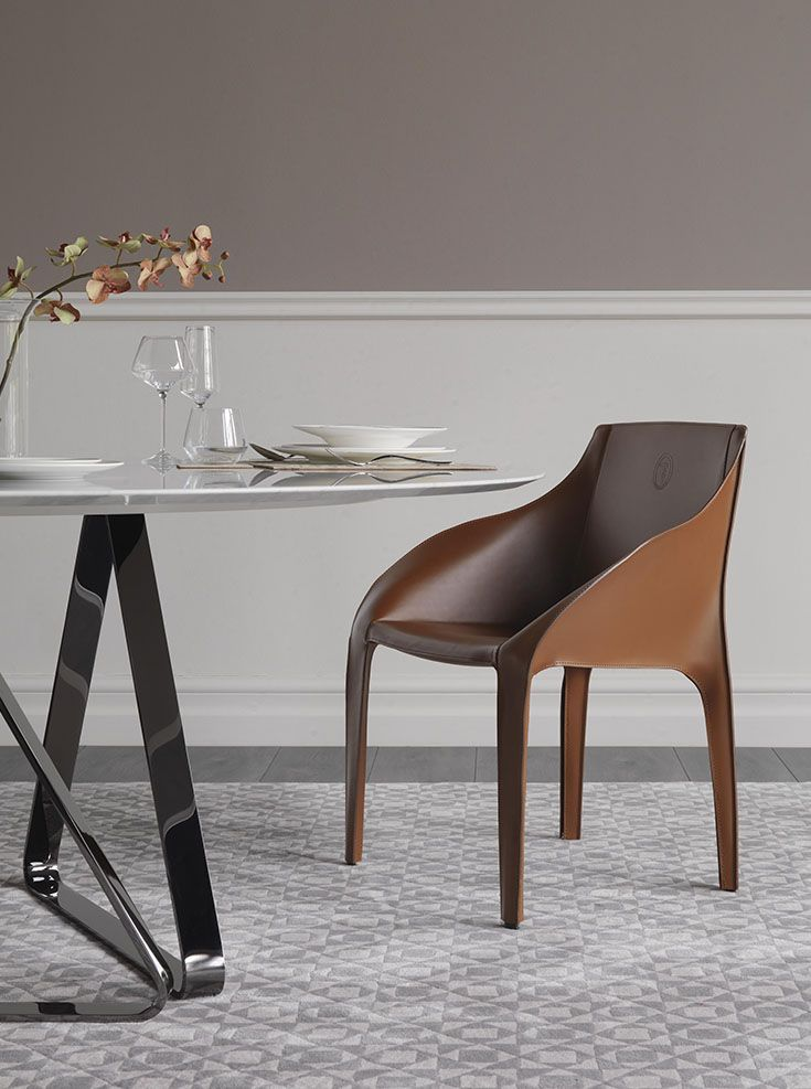 Trussardi Casa - Brizia chair and Tosco Marble table www