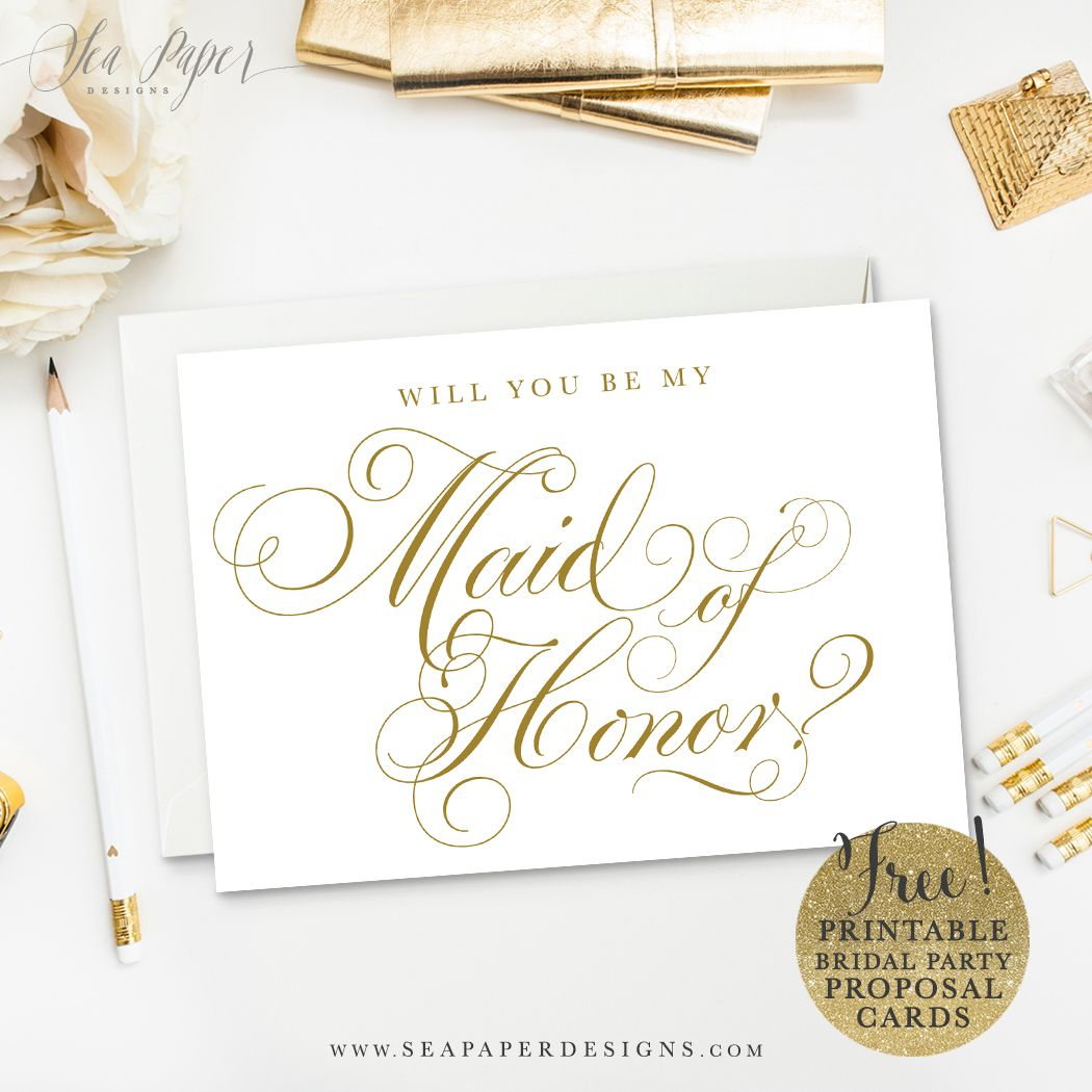 "Party Proposal Unique Freebie Printable Diy ""will You Be My Bridesmaid"" Card Set ."
