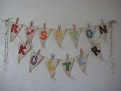 name banners using scrap fabric. adorable Alicia Merrill!
