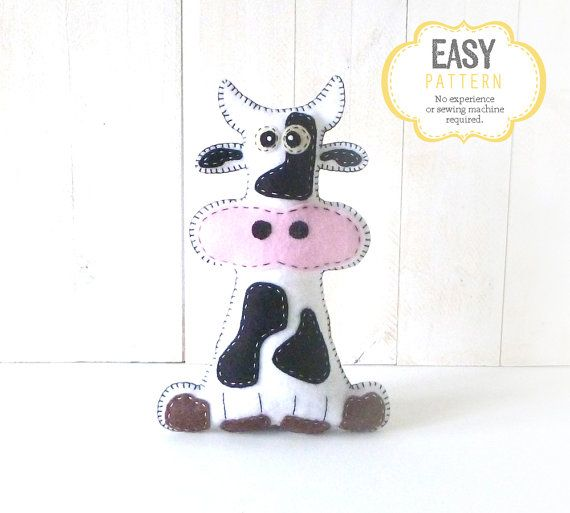 Cow Sewing Pattern, Plush Cow Sewing Pattern, Felt Cow Pattern ...