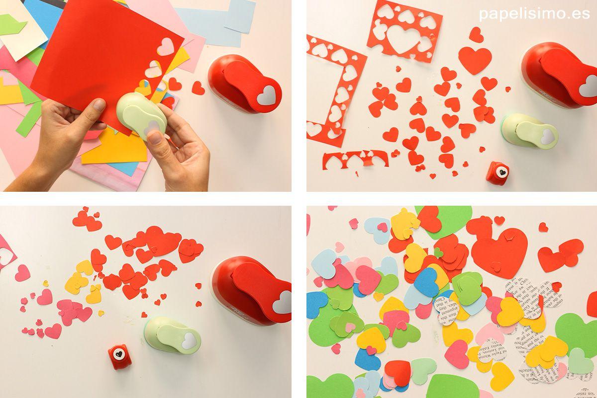 Cómo hacer confeti de corazones de papel paso a paso