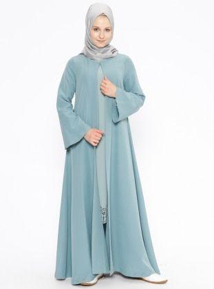 2d5e3800beae0 Düz Renkli Abaya - Haki - Beha Tesettür | Giyim | Robe hijab, Mode ...