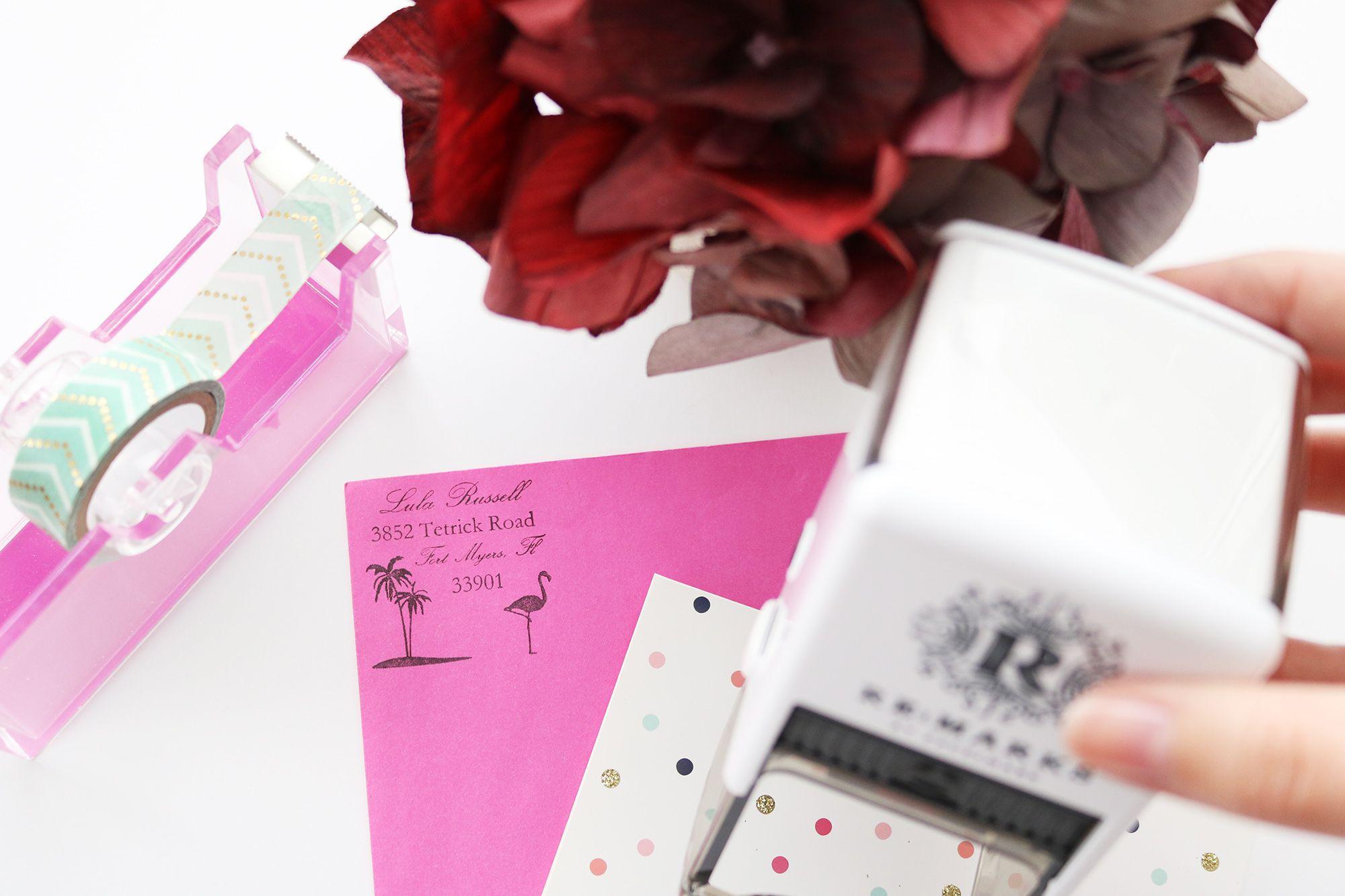 Tropical Address Stamp | Re:Marks Personalized Designer Stamp Gift Box, Housewarming  Gift U0026