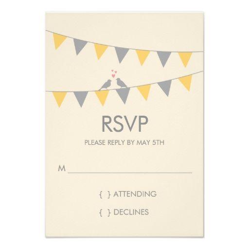 Bunting Love Birds Wedding RSVP - Grey Yellow Invites