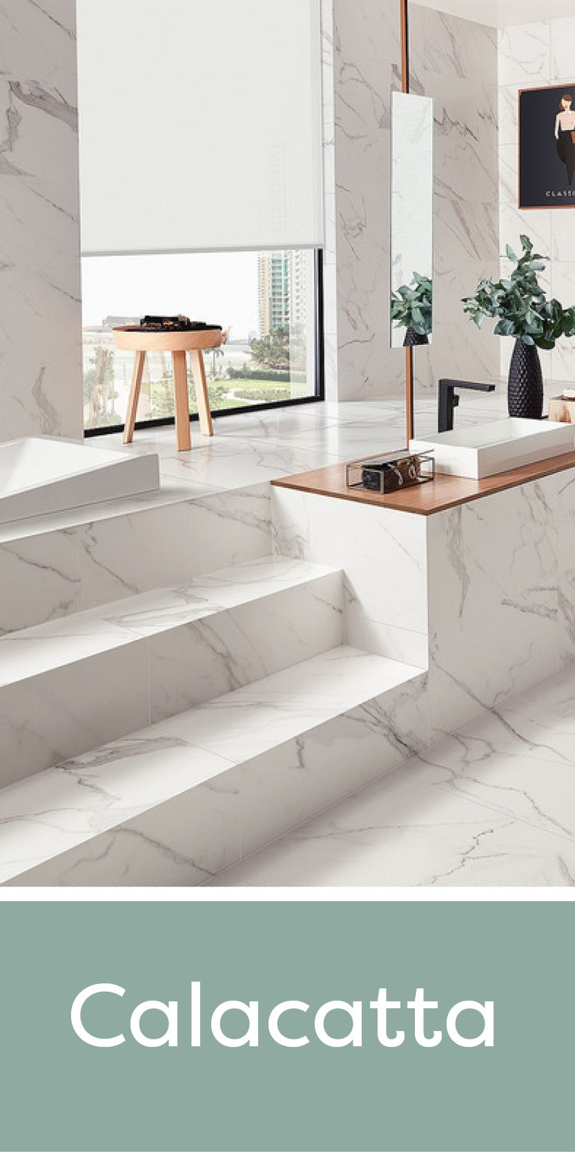 Our Calacatta range features a matching marble effect wall