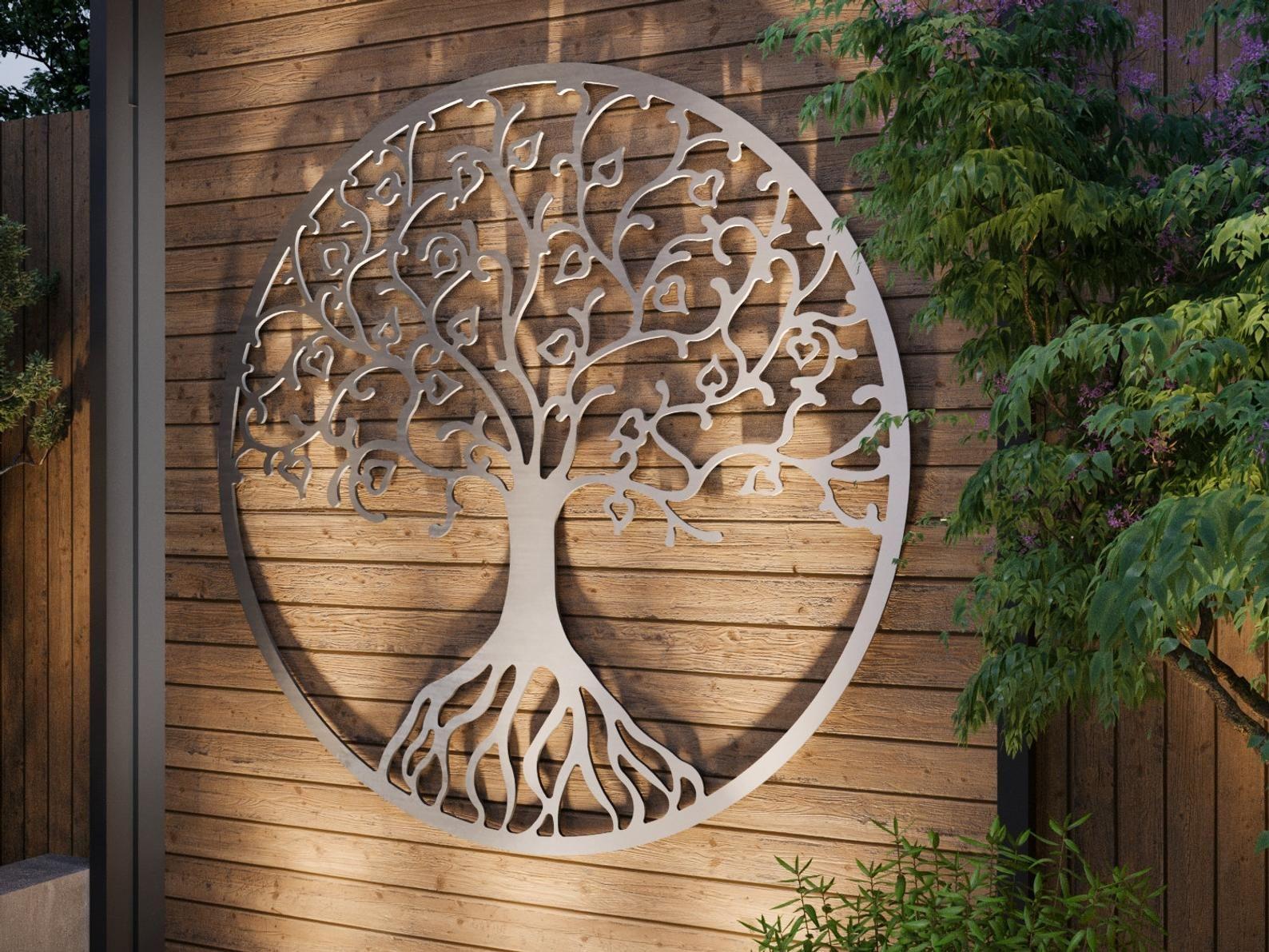 Tree of Life Outdoor Metal Wall Art, Large Metal Tree Wall ...
