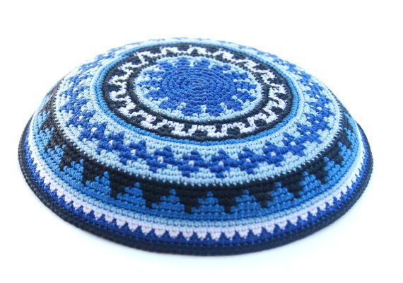Geometric Blue Black & White crochet Kippah by ShoshiStudio, $40.00 ...