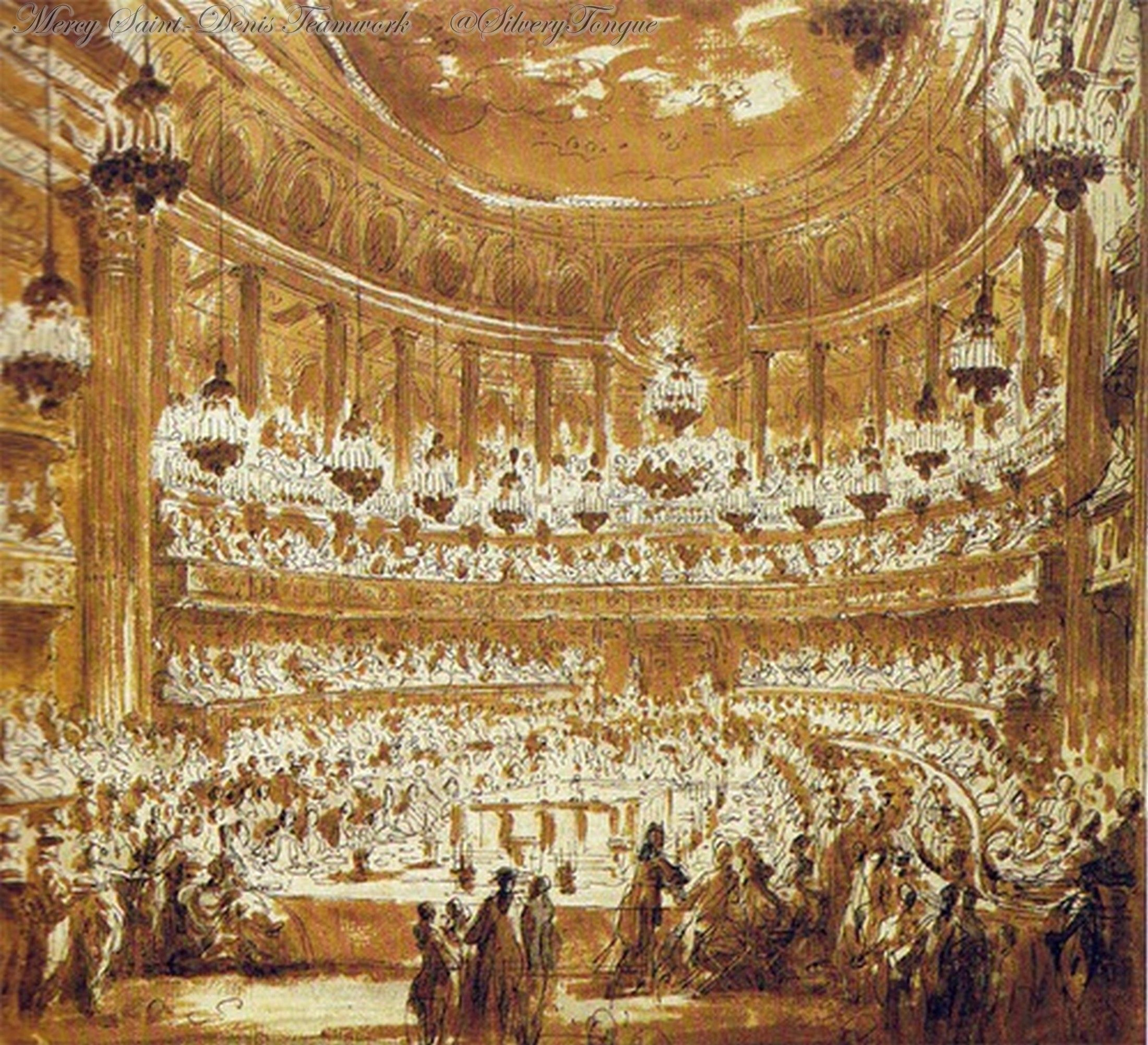The marriage dinner of the dauphin, the future Louis XVI with Marie Antoinette at the Opera at Versailles, May