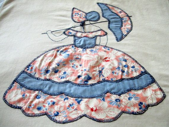 Vintage 1930s Quilt Block Hand Appliqued Southern Belle Parasol ... : southern quilts - Adamdwight.com