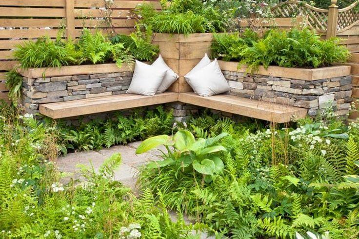 Symmetric Garden Bench Garden Design Ideas Sitzecken Garten Gartengestaltung Garten Gestalten
