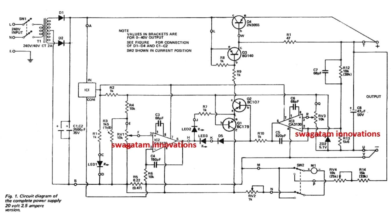The post details a simple regulated variable power supply circuit rated to  produce 0 to 40V adjustable ouput at max 2 amp current having overload and  short ...