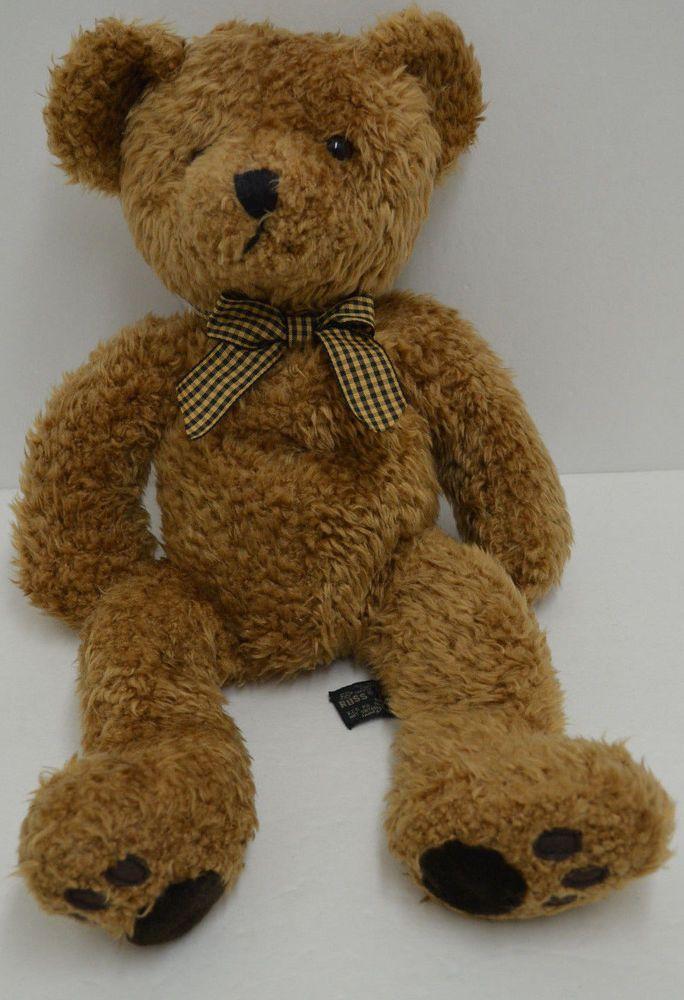 Russ Wembly Teddy Bear Plush Gingham Bow Bean Bag Brown 16