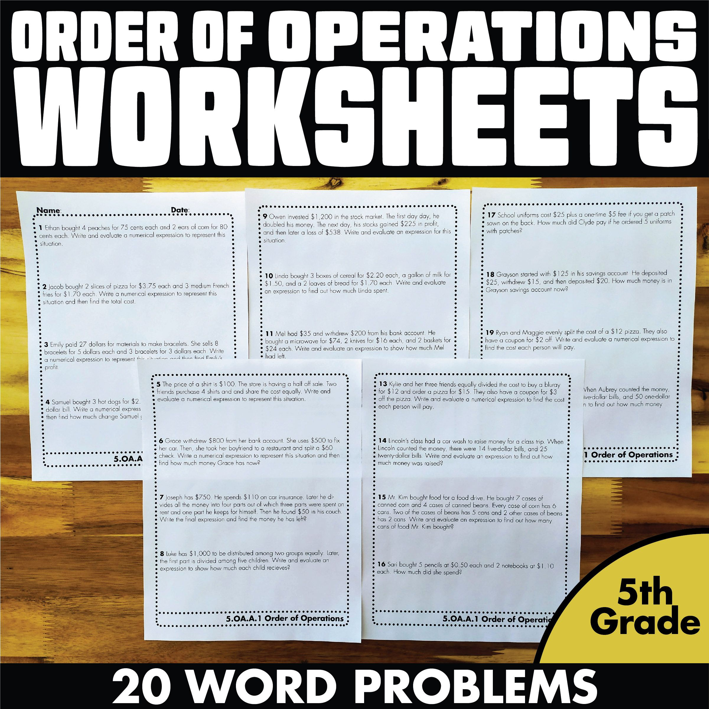hight resolution of Order of Operations Worksheets Word Problems 5th Grade   Order of  operations