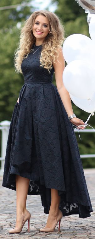 H Amp M Navy High And Low Fit And Flare Prom Dress By