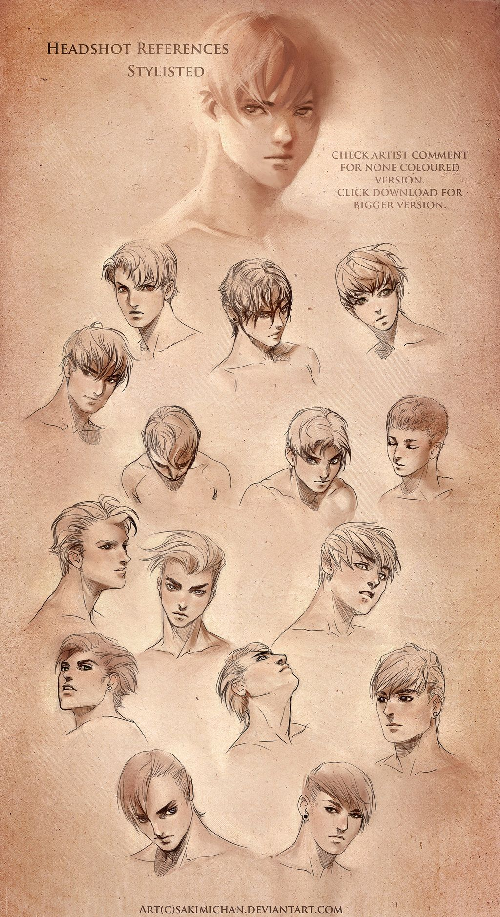 head reference image stylized head reference male by sakimichan