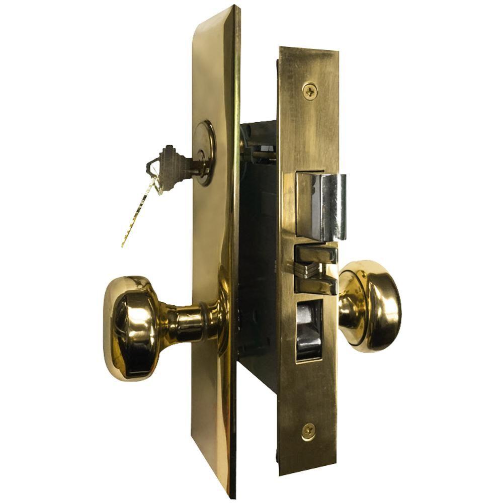 Premier Lock Brass Mortise Entry Left Hand Door Lock Set With 2 3 4 In Backset 2 Sc1 Keys And Wide Face Plate Hex Ml02 The Home Depot Lock Set Wide Face Single Cylinder Deadbolt