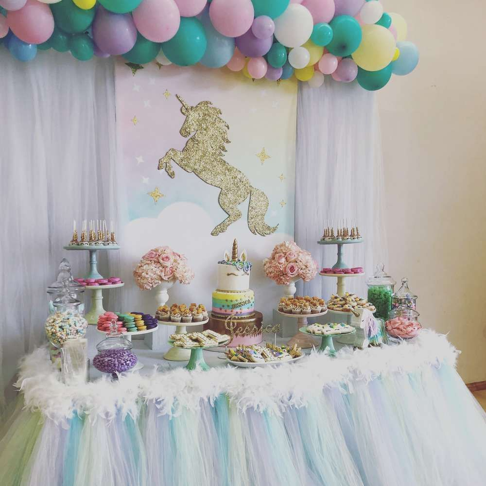 Take A Look At This Stunning Unicorn 1st Birthday Party The Dessert Table Is Gorgeous See More Ideas And Share Yours CatchMYParty