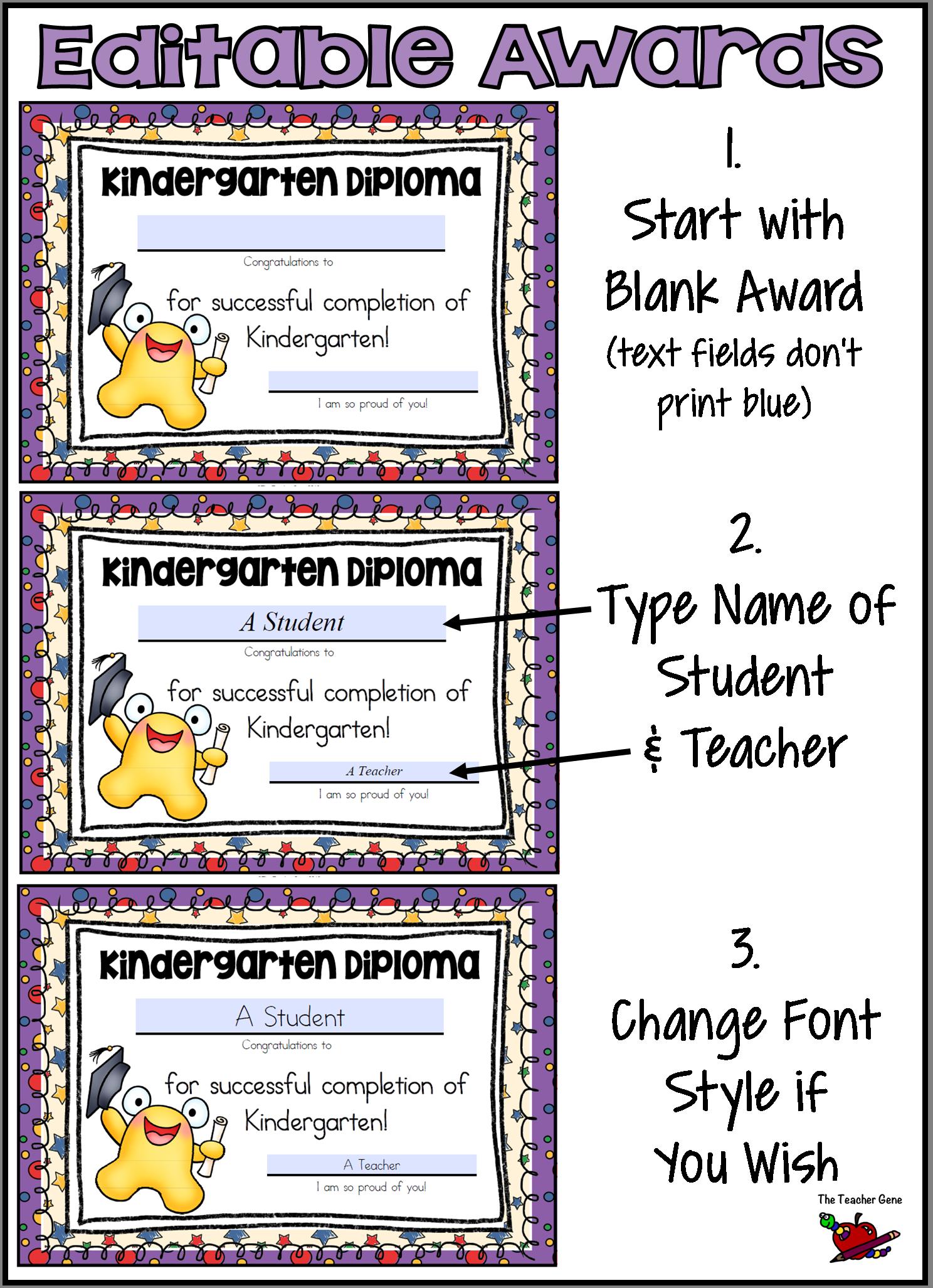Kindergarten Graduation Certificates Amp Invitations Editable With T Tags