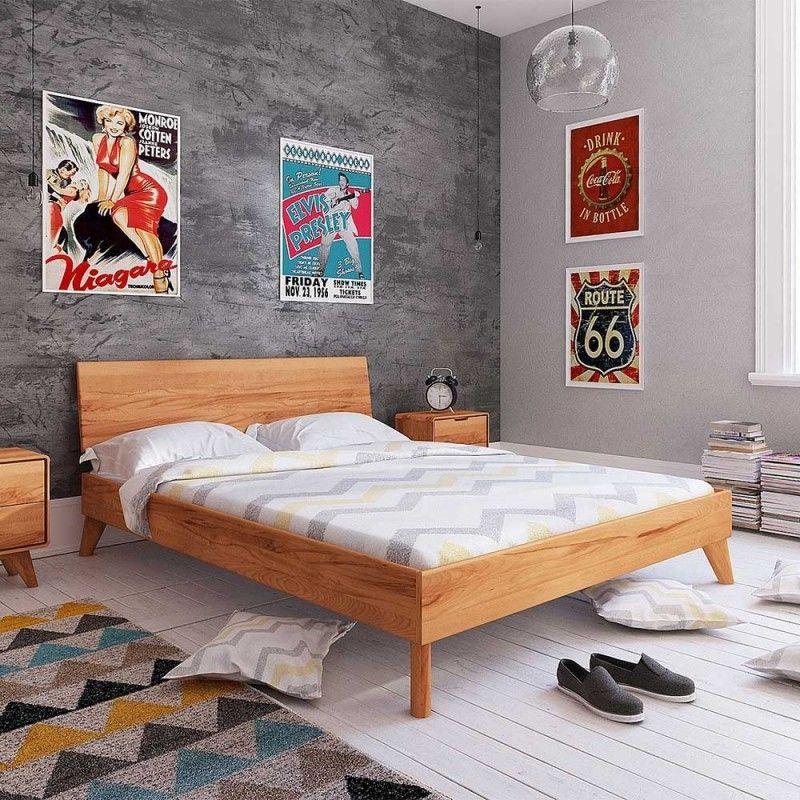 Schlichtes Holz Bett in Überlänge 220cm Junola