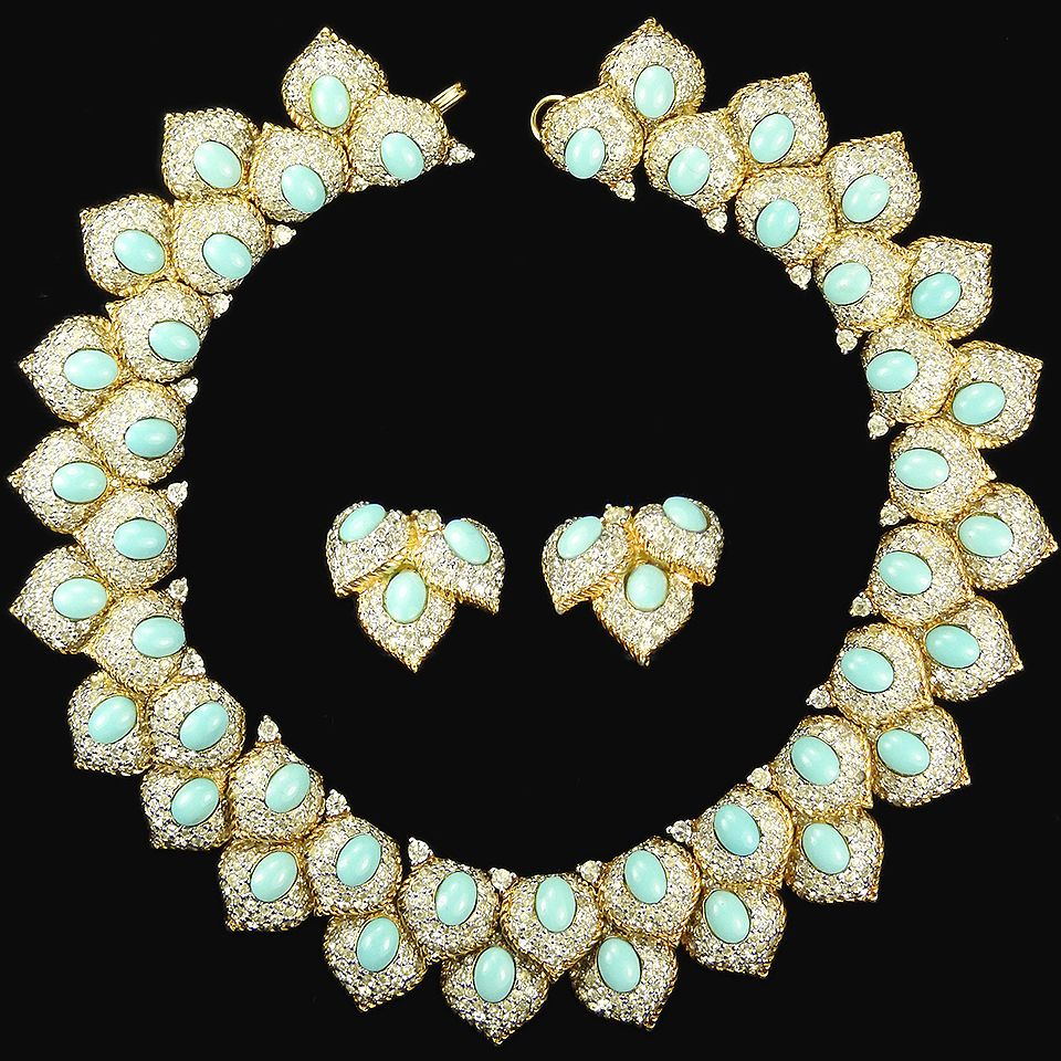 Jomaz Jewels of India Style Gold & Turquoise Collar Necklace & Earrings Set