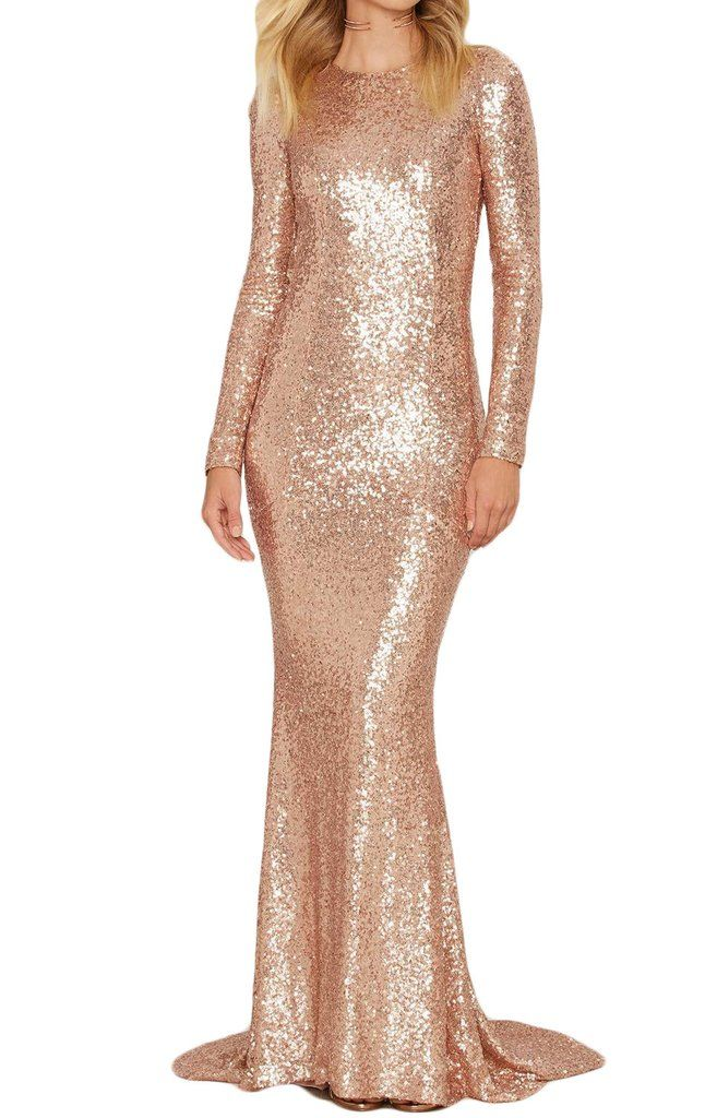 4137858fd7 MACloth Mermaid Long Sleeves Sequin Formal Evening Gown Rose Gold Prom Dress
