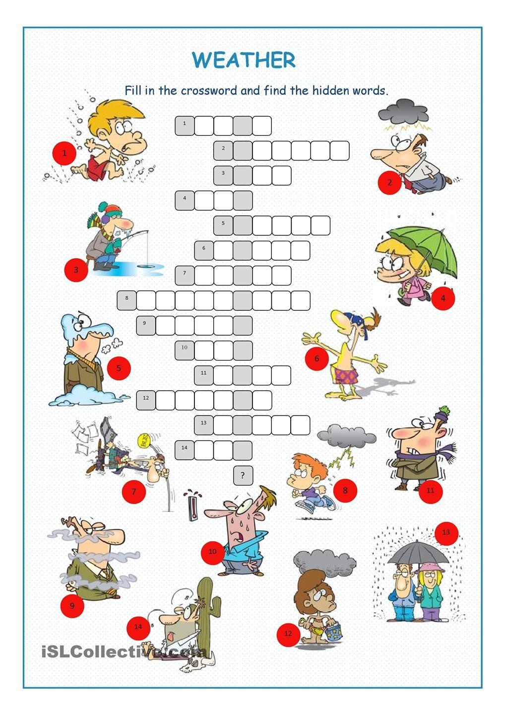 Weather Crossword Puzzle Преподавание английского языка