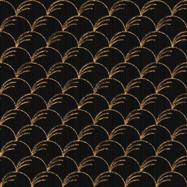Seamless pattern based on japanese sashiko. Wind blown grass motif -…