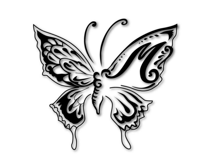 schmetterling mit schatten effekt tattoo design mit initialen tattoo butterfly schmetterling. Black Bedroom Furniture Sets. Home Design Ideas