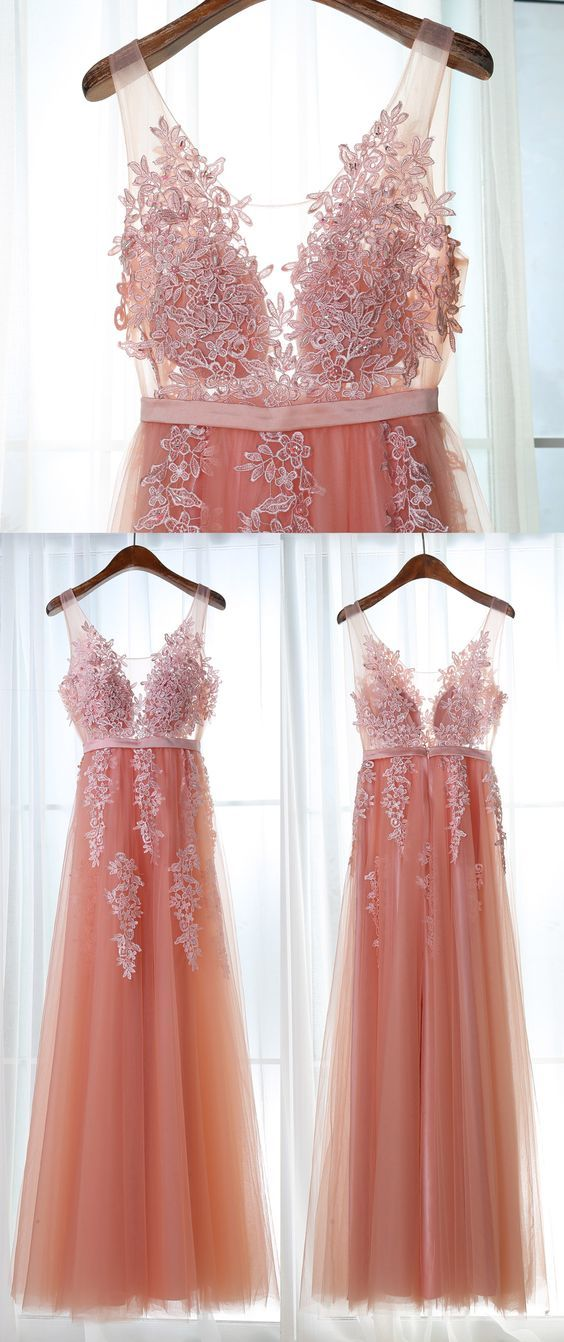 Appliques Tulle Prom Dress,Long Prom Dresses,Prom Dresses,Evening ...