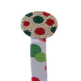 Christmas Dot Pacifier Clip also alternate red and clear stones like candy cane or orange and green for a pumpkin