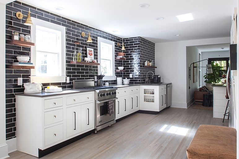 Kitchen Backsplash No Upper Cabinets black subway tile in the kitchen is more striking without any