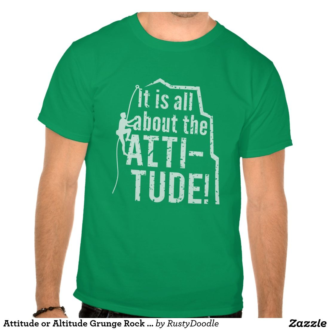 Attitude or Altitude Grunge Rock Climbing T-Shirt