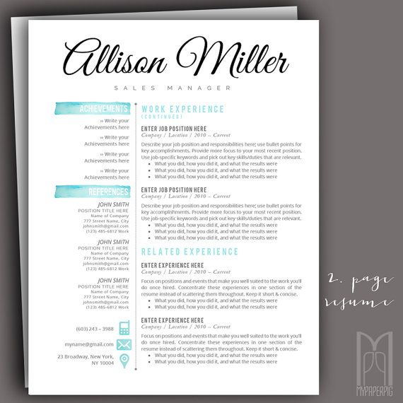 Resume Template and Cover Letter Template Professional Creative - how you do a resume